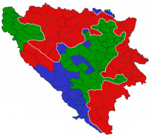 Bosnian ethnic divisions, as of 2005.