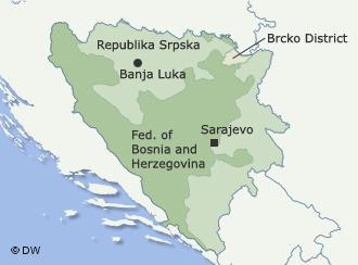 Map of Bosnia's subnational entities, in addition to the shared district of Brcko (to the north).