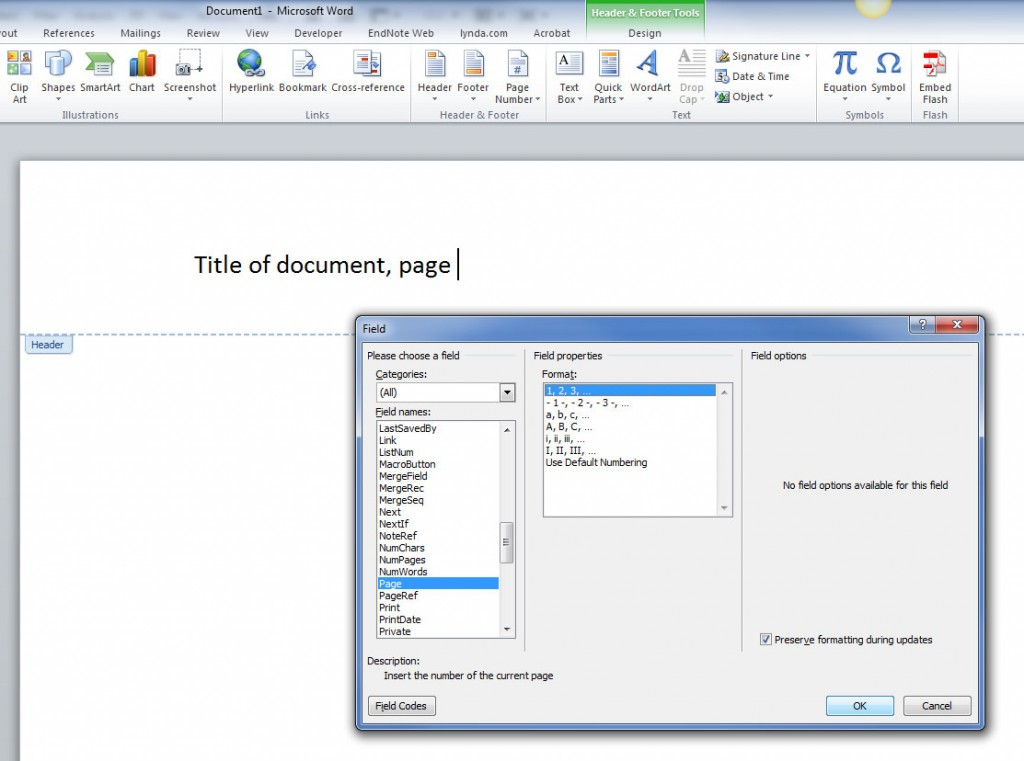 How to insert fields into a Word Document header on a PC