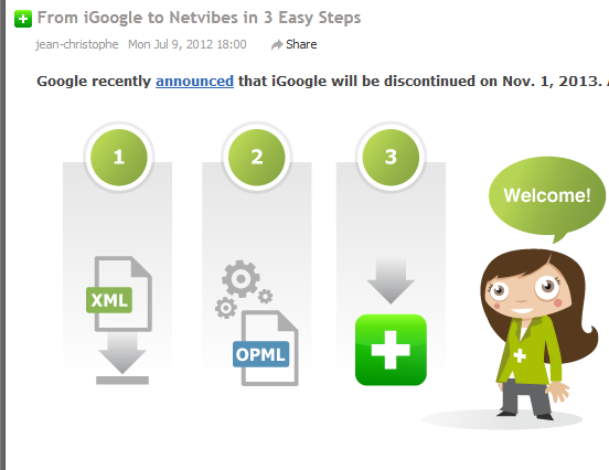 blog post on how to move from iGoogle to Netvibes
