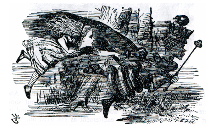 Alice and the Red Queen running, John Tenniel illustration to Alice in Wonderland, or Through the Looking Glass