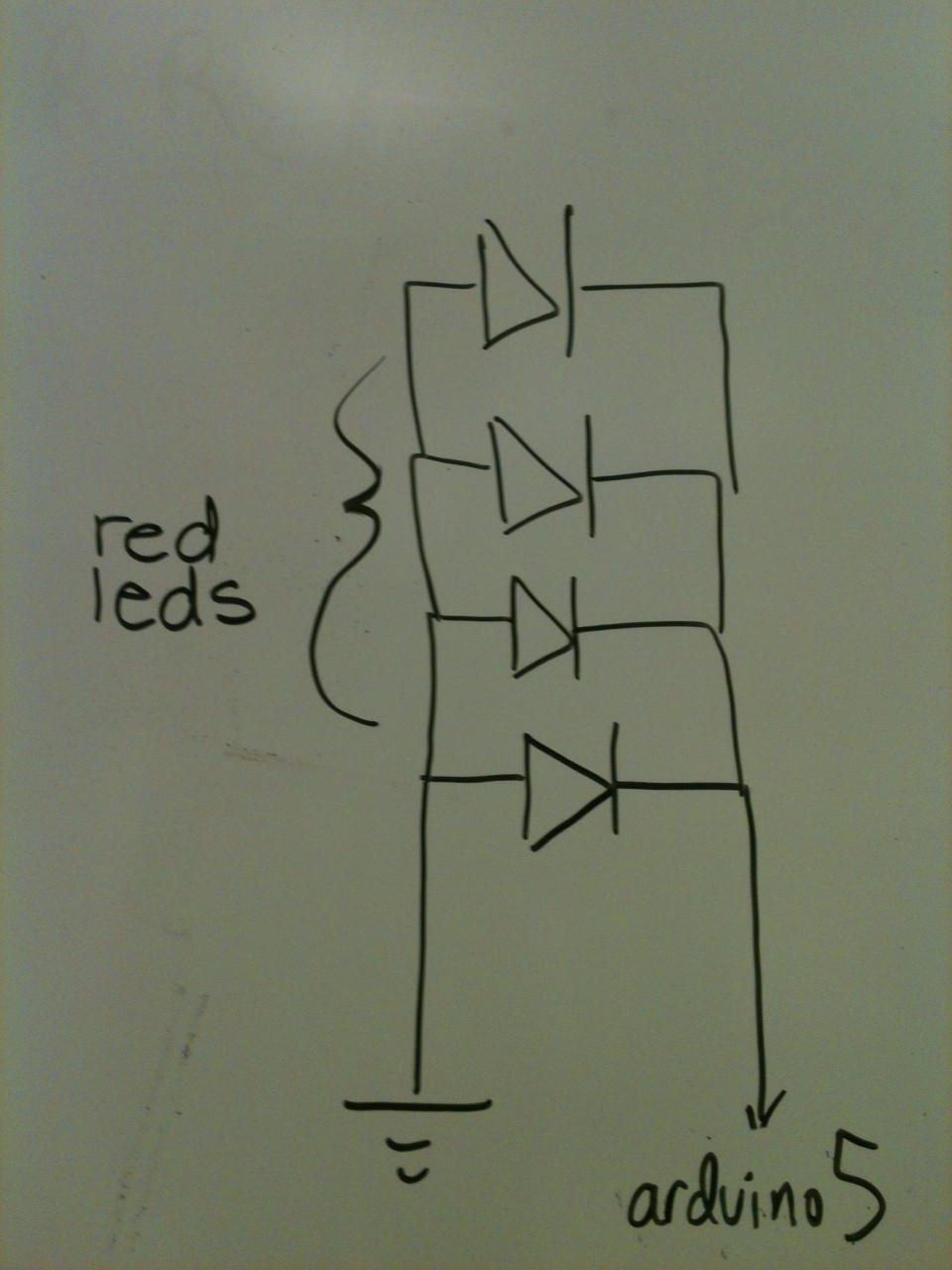 Arduino Circuit for Port 5: The Red LED array