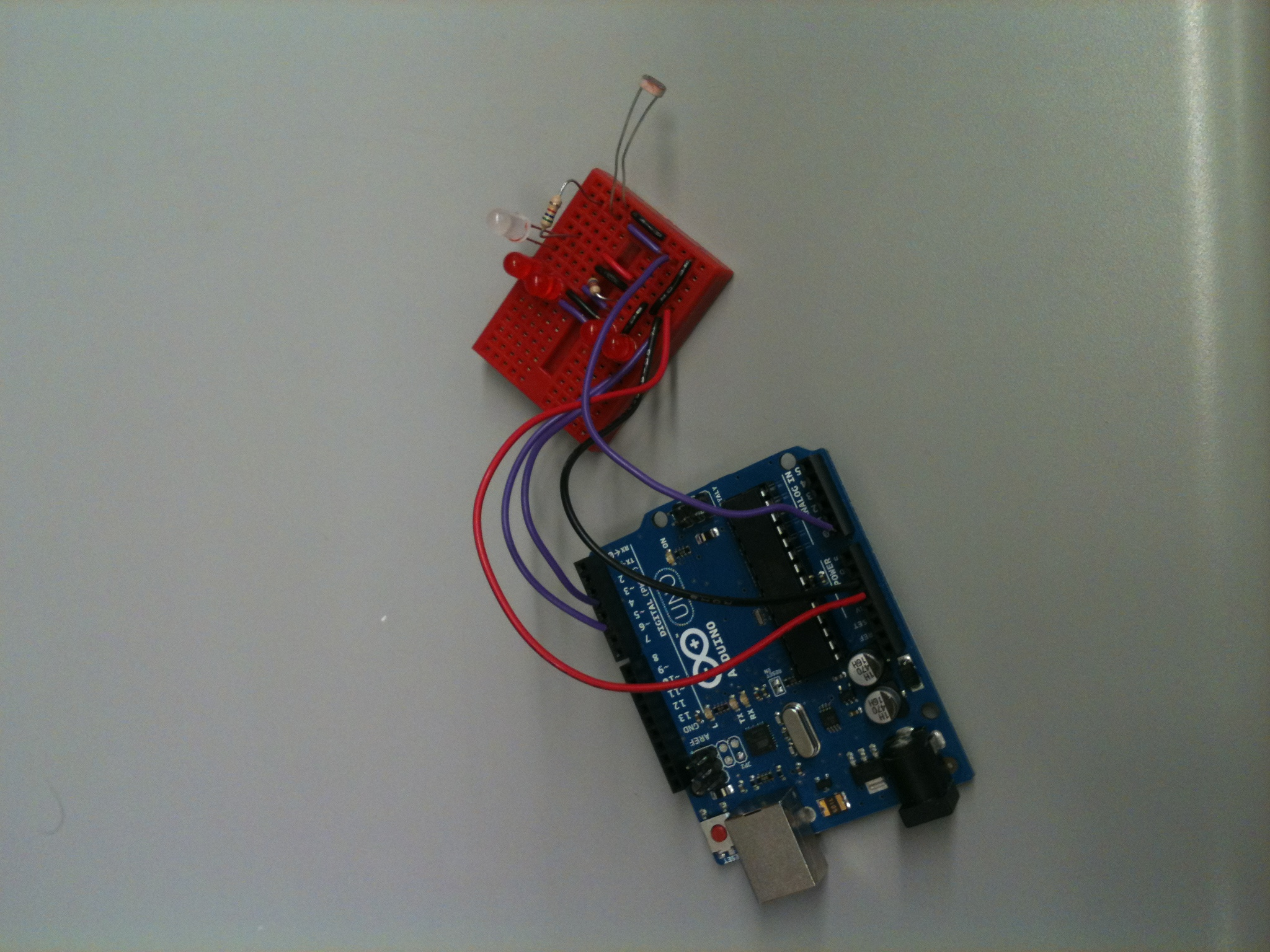 Arduino and Breadboard inside the Cube