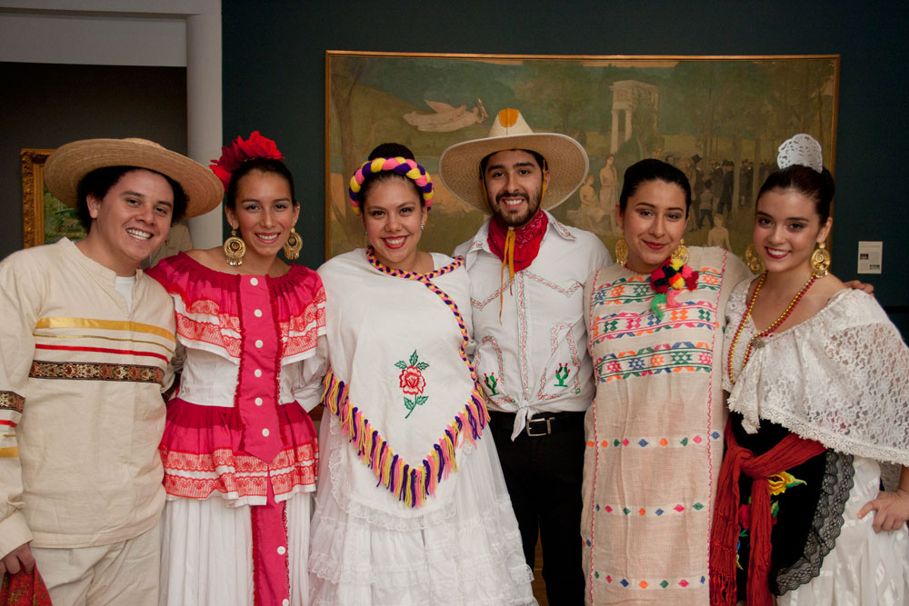 Ballet Folklórico at the PUAM. Students (from left to right): David Munguía Gomez '14, Lauren Castro '13, Grecia Rivas '13, Ubaldo Escalante '13, Aseneth Garza '13, Julie Sanchez '14