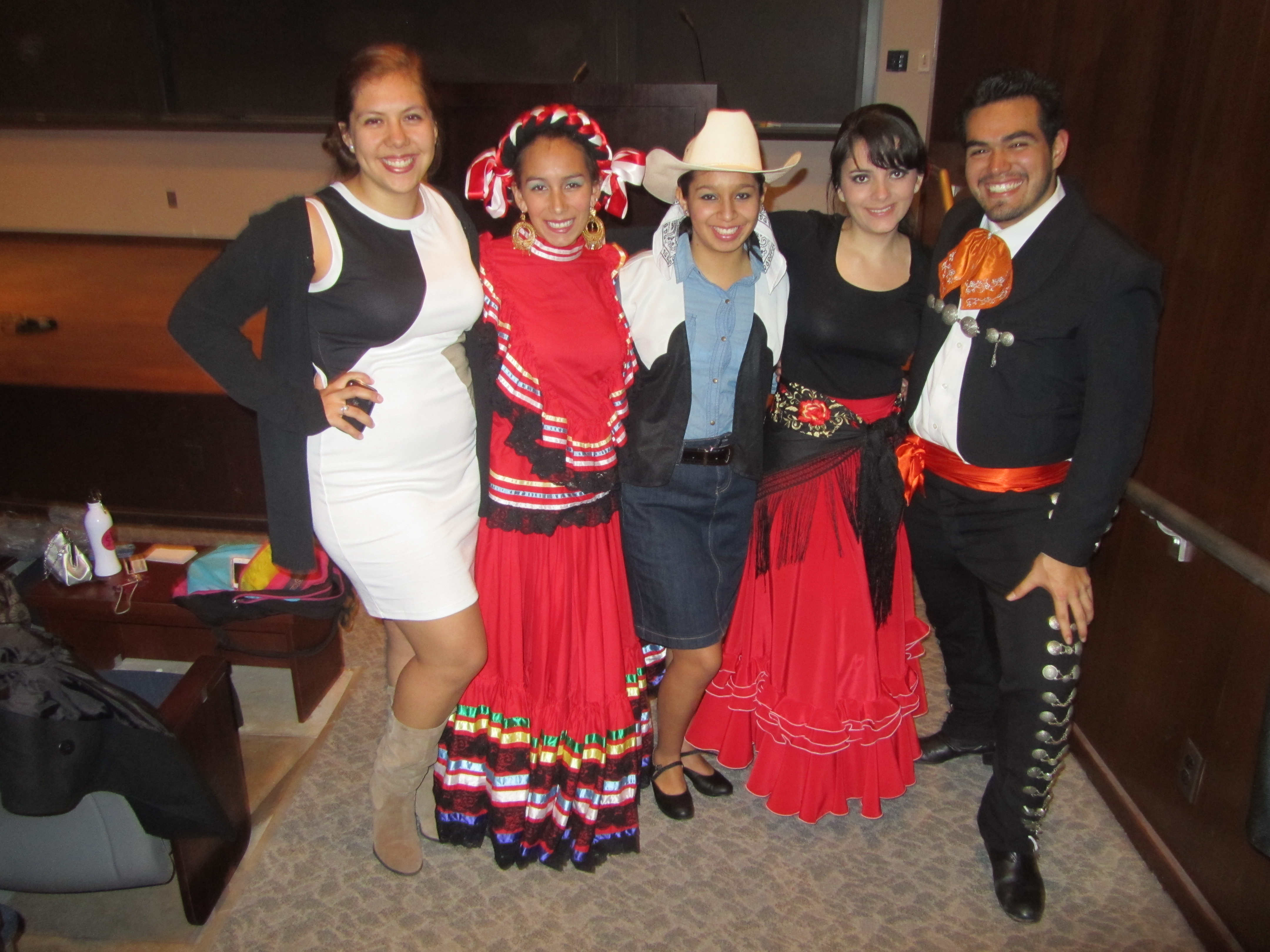 From left to right: Grecia Rivas '13 (audience), Lauren Castro '13 (performed with Ballet Folklórico), Silvana Alberti '14 (performed with Ballet Folklórico), Valerie Aguilar (danced Flamenco), Cuauhtémoc Ocampo '14 (performed with Ballet Folklórico)