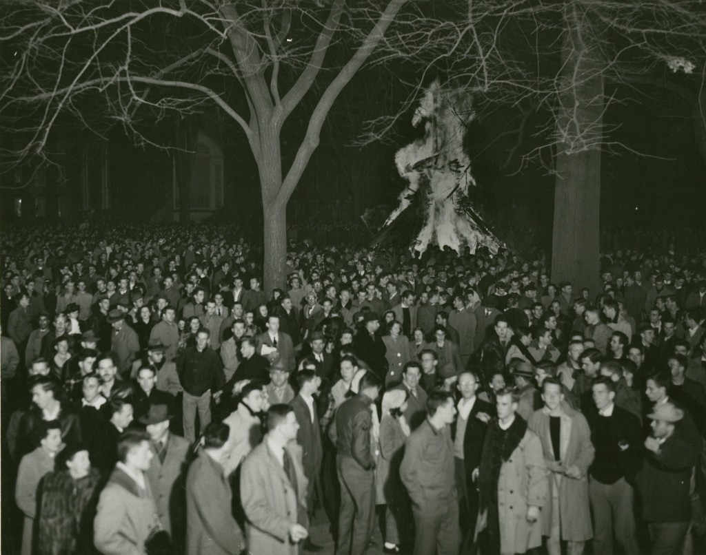 Students turn away from the heat of the flames during the 1946 fire.