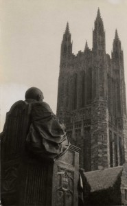 A view from behind the monumental statue of Andrew Fleming West, erected in the Graduate College quad in the 1920s, looking toward the Cleveland Memorial Tower. West was the first Dean of the Graduate School and driving force behind building the Graduate College.  Cleveland Tower was built as the national monument for President Grover Cleveland, who retired to Princeton after leaving the White House, and was a University trustee and supporter of graduate education.