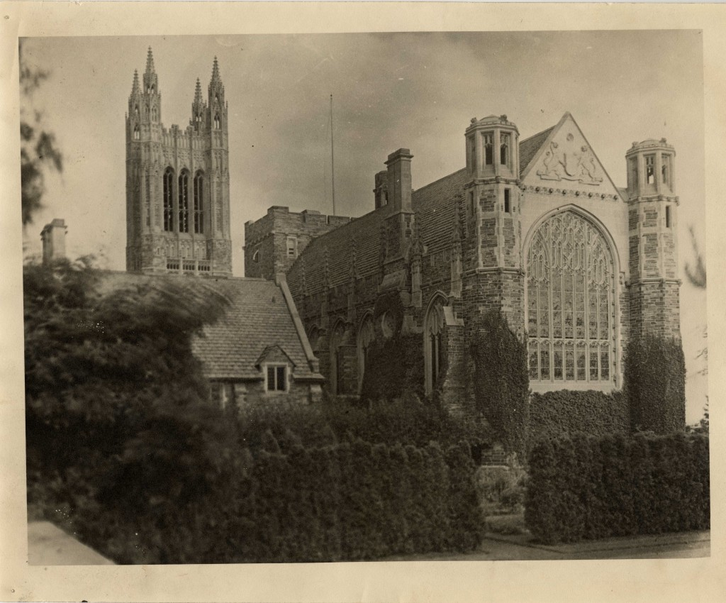 Procter Hall view: The centerpiece of the Graduate College, Procter Hall and the beautiful stained glass Great West Window looking towards the Cleveland Memorial Tower, ca. 1913