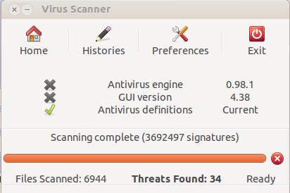 results of virus scan