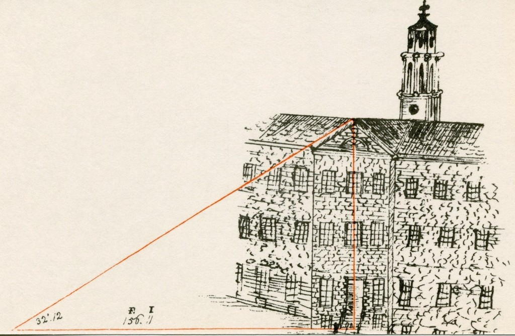 Thomas_Campbell_Class_of_1818_sketch_'Taking the Measure of Nassau Hall'_AC110_Box_7_Folder_10