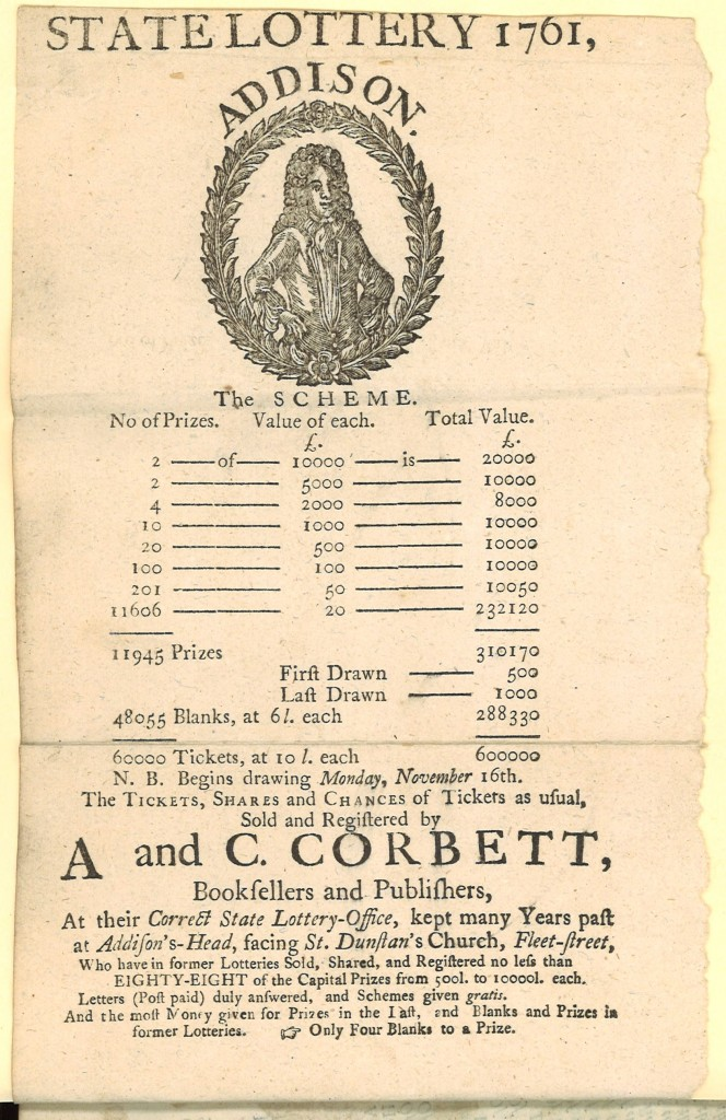State Lottery 1761. ... Sold and Registered by  A. and C. Corbett, Booksellers, at their Correct State Lottery Office, .. at Addison's-Head, directly facing St. Dunstan's Church, Fleet-Street.   Not recorded in ESTC.  Tipped onto final page of A new and easy method to understand the Roman history ...  translated from the French, with very large additions and amendments, by Mr. Tho. Brown.(London, 1748). Call number (Ex) 2012-0846N
