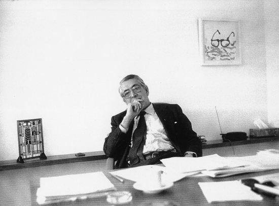 Alejandro Rossi at his desk [Alejandro Rossi Papers, 1812-2010, Box 31, Folder 6]