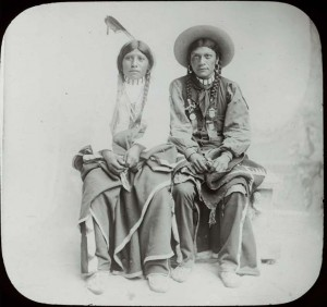"T.H. McAllister lantern slide that reads: ""Utes: Pee Viggi and squaw,"" circa 1900. Part of Western Americana Photographs Collection (WC064) and found here."