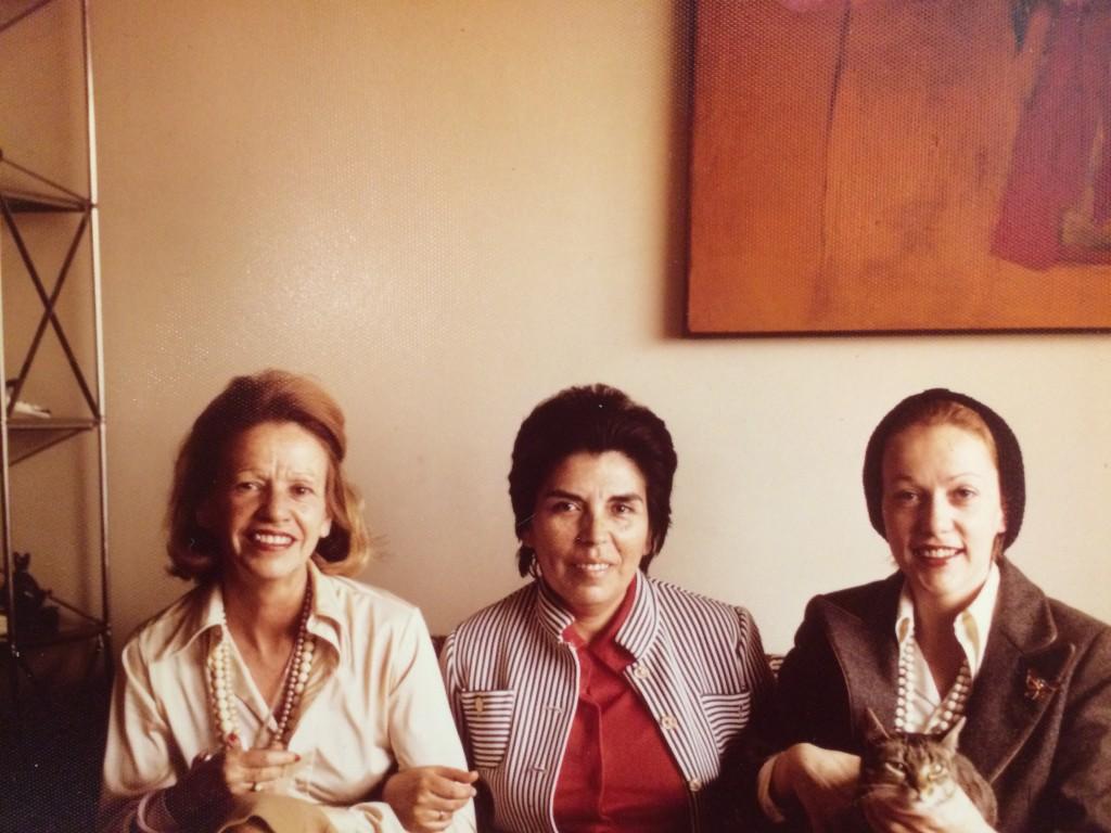 Photograph of Elena Garro, Gabriela Mora, and Helena Paz Garro taken at Mora's home in New York City, 1970. From the Gabriela Mora Collection on Elena Garro (C0994).