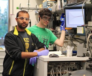 Mazhar Ali (left) and Steven Flynn (right), co-authors on the Nature paper. Photo by C. Todd Reichert.