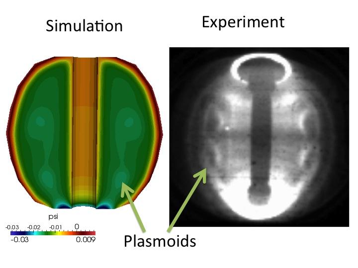 Plasmoid formation in plasma simulation