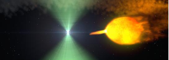 Sketch of a pulsar, center, in binary star system (Photo credit: NASA Goddard Space Flight Center)