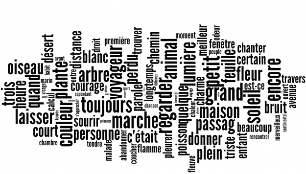 Figure 2: Most frequent words encountered within Les Champs Magnétiques by Andre Breton and Philippe Soupault. The greater the size of the word, the more times it has been encountered.