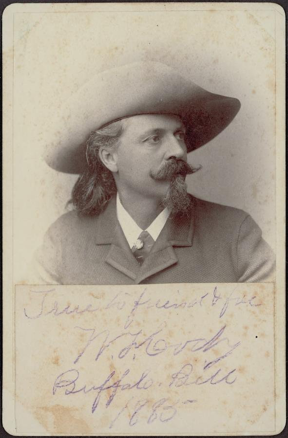 "Autographed: ""True to friend & foe, W.F. Cody, Buffalo Bill, 1885."""