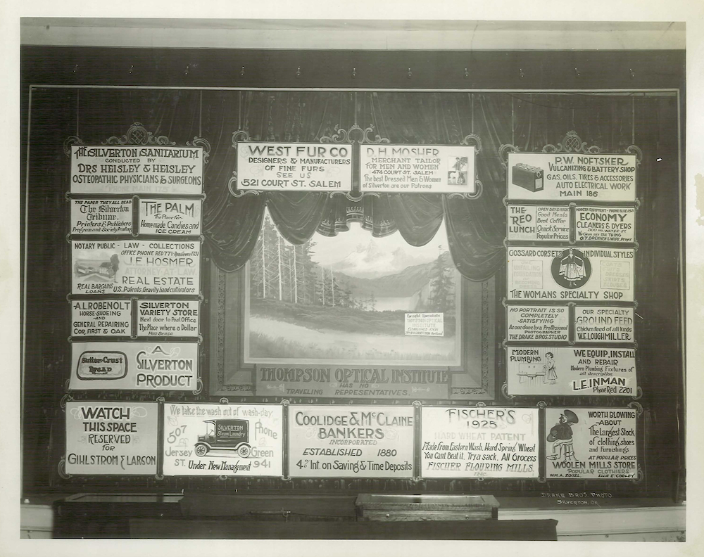 Silverton Opera House Curtain, Corner of Oak & North Water, 1921.