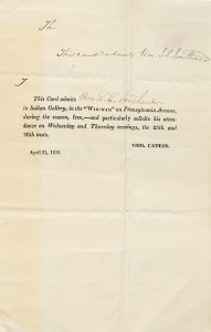 """Printed admission card for Catlin's """"Indian Gallery."""" Samuel L. Southard Papers (C0250)."""