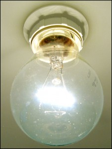 Photo of a bare light bulb showing the lighted filiment