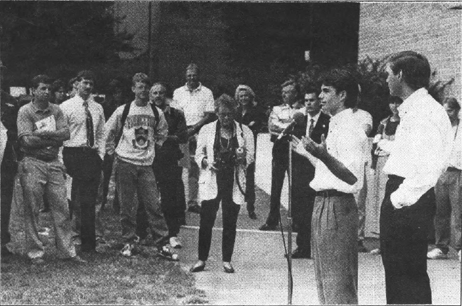 Jeff Gordon speaks at E-Quad 1996