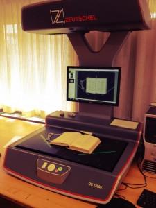 Our overhead Zeutschel scanner
