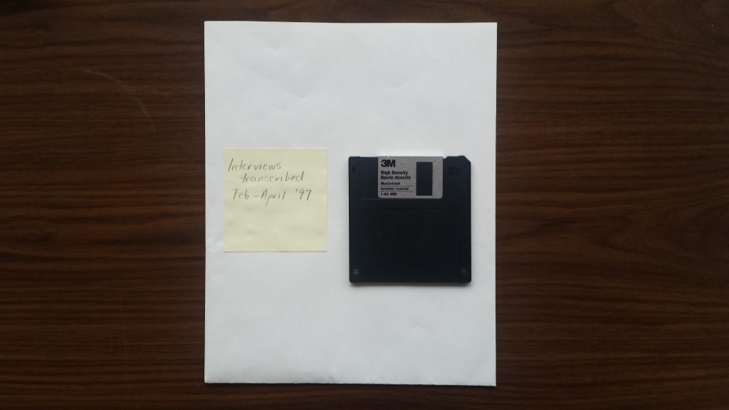 3.5-inch floppy disk found by Briana Christophers '2017.
