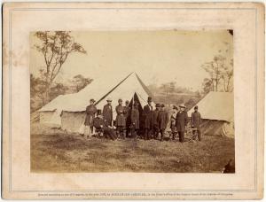 Alexander Gardner, Group of Pres. Lincoln, Gen. McClellan, and Suite. George McClellan Papers, Manuscripts Division.