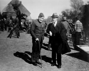 F. Scott Fitzgerald with Richard Barthelme on movie set, Hollywood.