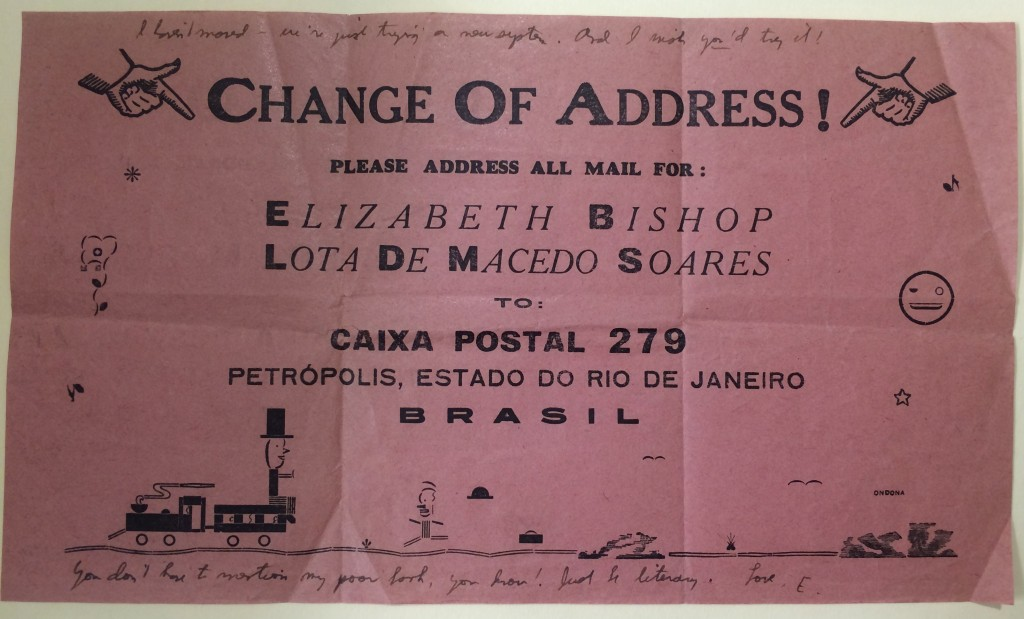 Change of address note from Elizabeth Bishop and Lota de Macedo Soares to Joseph Frank (September 28, 1955) from the Elizabeth Bishop letters in the Joseph Frank Correspondence (C1515).