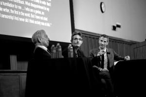 Mario Vargas Llosa, Philippe Lançon, Rubén Gallo (left to right)