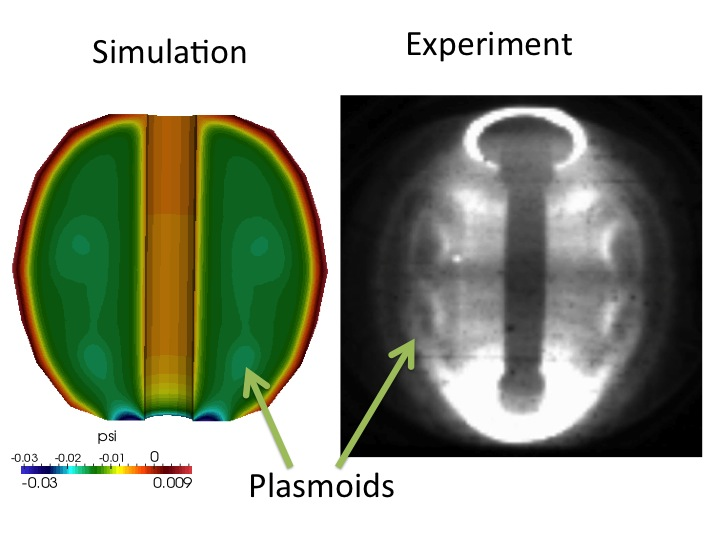 Plasmoid formation in plasma simulation