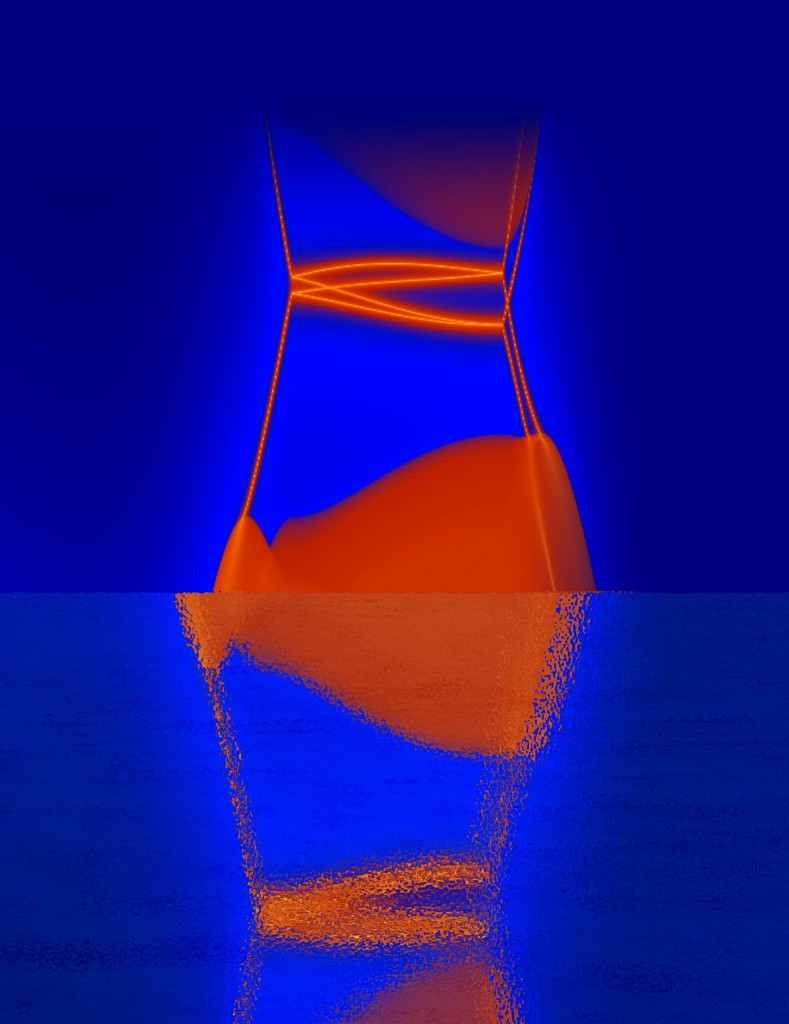 An illustration of the hourglass fermion predicted to lie on the surface of crystals of potassium mercury antimony. (Bernevig et al., Princeton University)