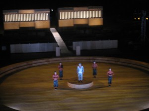 Small peaks of the performance, The Clouds by Aristophanes in the ancient theatre of Epidaurus